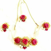 Magenta Gota Patti Jewelry Necklace