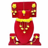 Yellow Color Gota Patti Necklace, Earrings, Haath Paan with Set .