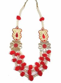 Red Pom Pom And Gotta With Pearl Handmade Jewellery Set For Women