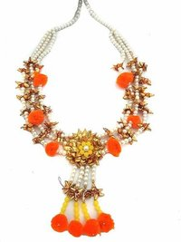 Orange Pom Pom And Golden Colour Gotta With Pearl Handmade Set .