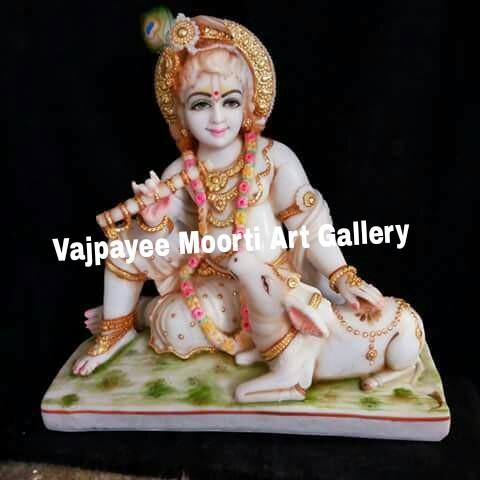 Krishna Statue With Nandini