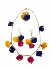 Pink Blue Pom Pom And Golden Colour Gotta Handmade Necklace