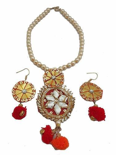 Red Pom Pom And Golden Colour Gotta Handmade Necklace Earring Set
