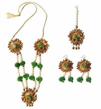 Handmade Green Gotta Patti/ Floral Necklace Jewellery Set
