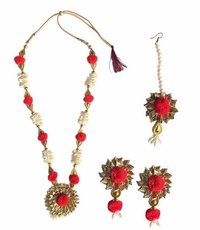 Handmade Red Gotta Patti/ Floral Necklace Jewellery Set
