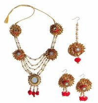 Handmade Red Gotta Patti Floral Necklace Jewellery Set For Indian