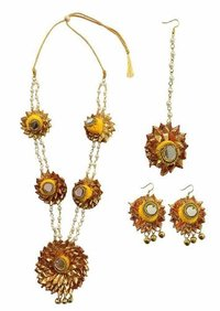 Handmade Yellow Gotta Patti/ Floral Necklace Jewellery Set