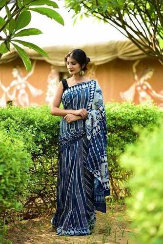 Ladies Indigo Hand Block Printed Blue Sarees
