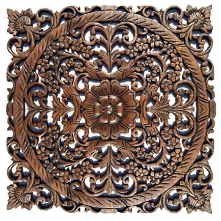 Oriental Carved Wood Wall Art Panel At