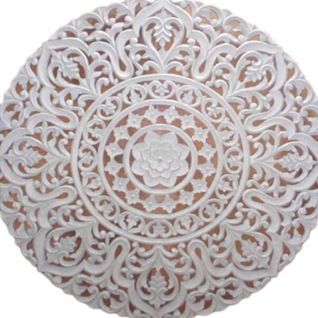 White Panel Wooden Carved Wall Art Panel
