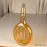 Yellow Blown Glass Decanter