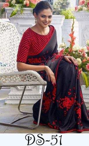 Fancy Designer Stylish Latest Royal Black Saree