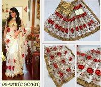 Fancy White Saree