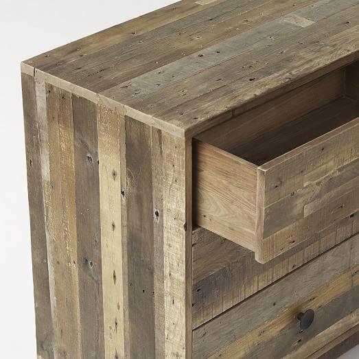 Reclaimed Wood 3 Drawer Dresser Natural Cabinet