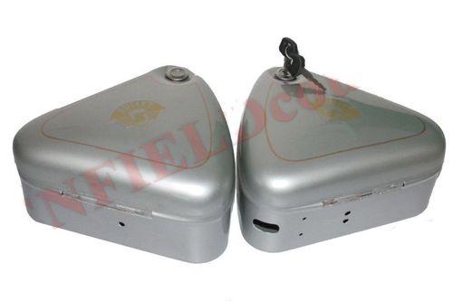 Royal Enfield Tool Box Pair Lock Convex Lid Silver Paint Bullet Logo for Early Royal Enfield