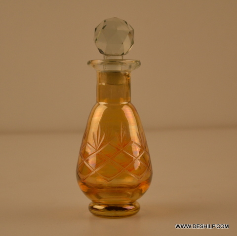 GLASS YELLOW PERFUME CLR BOTTLE AND DECANTER,