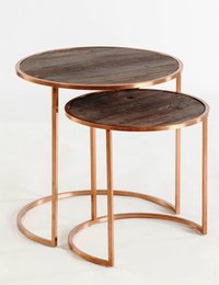 Square Rod Nesting Table With Stone Top