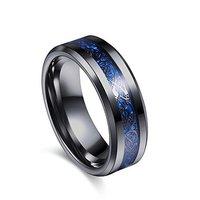 Dragon Celtic Inlay Polish Finish Titanium Steel Ring