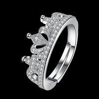 A5 Grade Crystal The Royal Crown 925 Sterling Silver Plated Ring
