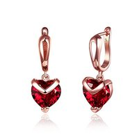Red Heart A5 Grade Crystal 18K Rose Gold Plated Earrings