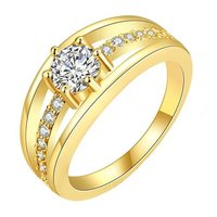 Single Stone Sparkling Layer 18K Gold Plated Cubic Zircon Designer Ring