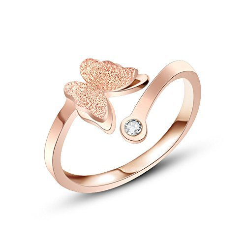 Butterfly Charm Crystal Rose Gold Ring