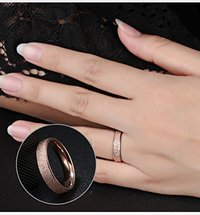 Dazzling Stardust Rose Gold Stainless Steel Ring