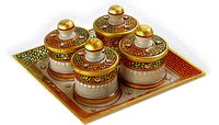 Marble Dry Fruit Revolving Tray 9 Inch