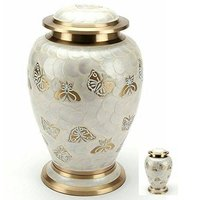 White Butterfly Brass Cremation Urn