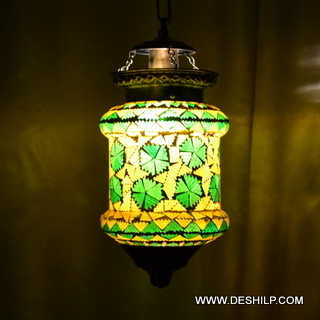 GREEN COLOR DECORATIVE HAND PAINTED GLASS WALL HANGING