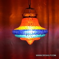 FOUR COLOR GLASS MOSAIC WALL HANGING LAMP
