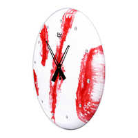Red Wooden Resin Wall Clock