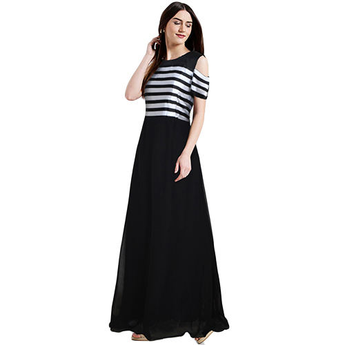 Ladies Georgette Black Double Flared Maxi Dress