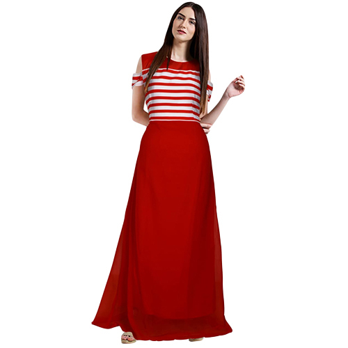 Ladies Georgette Red Double Flared Maxi Dress