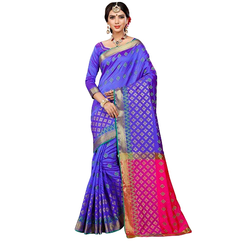 Ladies Blue Banarasi Printed Saree