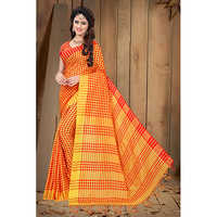 Ladies Orange Banarasi Printed Saree