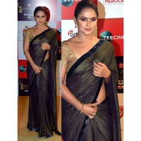 Ladies Silver Knitted Saree