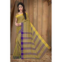 Ladies Yellow Green Cotton Saree