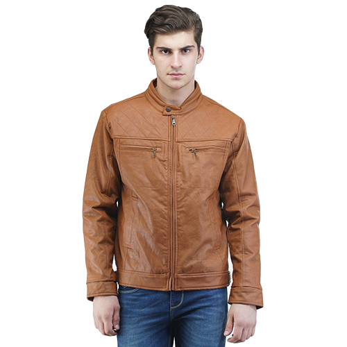 Mens Brown Faux Leather Jacket