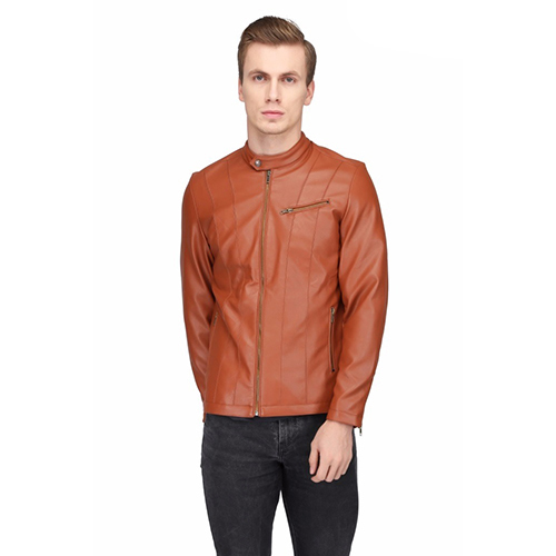 Men's Tan Leather Solid Jacket