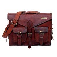 V Cut Flap Leather Messenger Bag