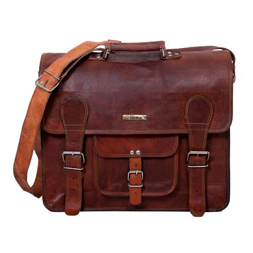 Designer Leather Messenger Bag