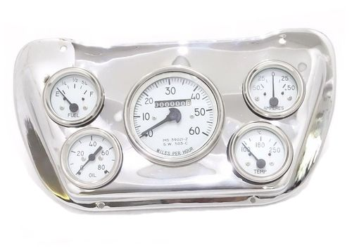 Willys jeep Panel Dash Gauge Instrument Cluster with Chrome Mounting Plate