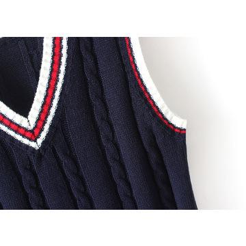 Black Sleeveless School Sweater