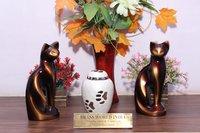 White Brass Pet Cremation Urn