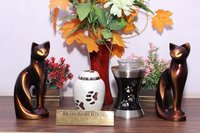White Brass Pet Cremation Urn