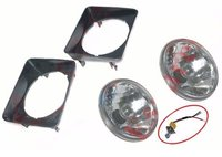 Suzuki Sj410 Gypsy Headlight Bezel Set With 7'' Headlamp Sealed Beam Bulb