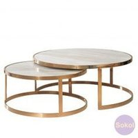 Square Pipe Nesting Table With Golden Finish