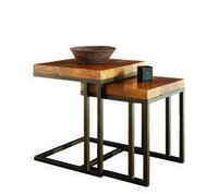 Iron Nesting Table with Wooden Dish Top