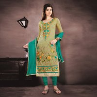Chanderi Embroidered Straight Salwar Suit
